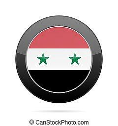 Flag of Syria. Shiny black round button.