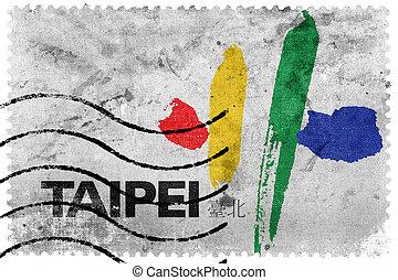 Flag of Taipei City, Taiwan, old postage stamp