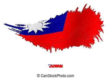 Flag of Taiwan in grunge style with waving effect.