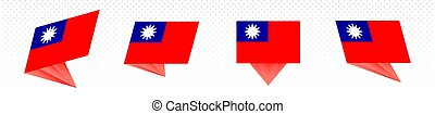 Flag of Taiwan in modern abstract design, flag set.