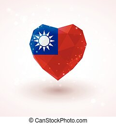 Flag of Taiwan in shape diamond glass heart. Triangulation style