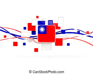 Flag of taiwan, mosaic background with lines