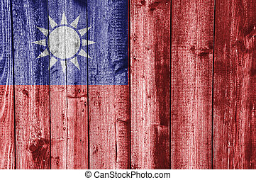 Flag of Taiwan on weathered wood