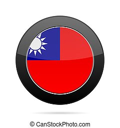 Flag of Taiwan. Shiny black round button.