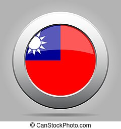 Flag of Taiwan. Shiny metal gray round button.