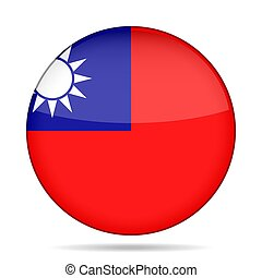Flag of Taiwan. Shiny round button.