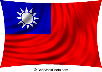 Flag of Taiwan waving in wind isolated on white