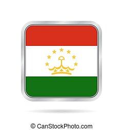 Flag of Tajikistan. Metallic gray square button.