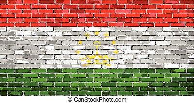 Flag of Tajikistan on a brick wall