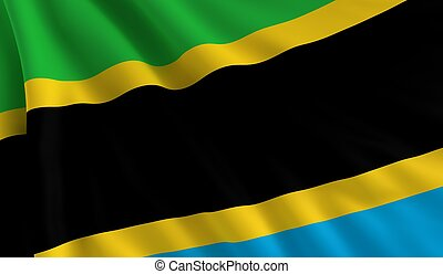 A flag of Tanzania in the wind