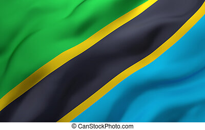 Flag of Tanzania blowing in the wind