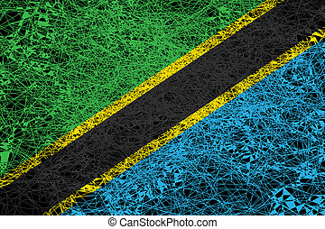 Flag of Tanzania. Illustration in grunge style.