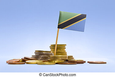 Flag of Tanzania in a stack of coins.(series)