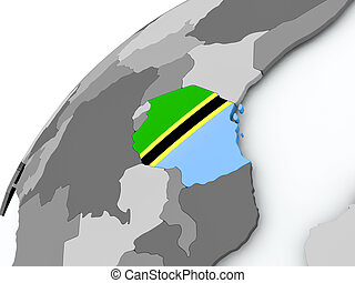 Flag of Tanzania on grey globe