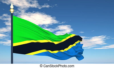 Flag Of Tanzania on the background of the sky and flying...