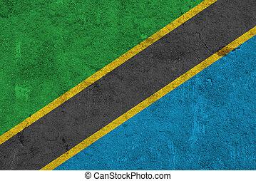 Flag of Tanzania on weathered concrete