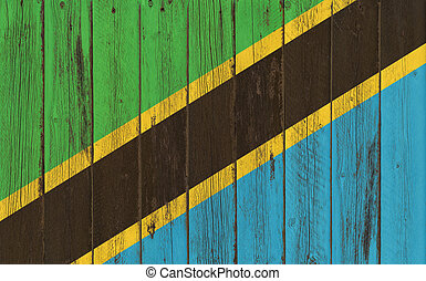 Flag of Tanzania painted on wooden frame