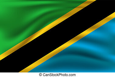 Flag of Tanzania. Realistic waving flag of United Republic of Tanzania.