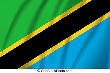 Realistic waving flag of United Republic of Tanzania. Fabric textured flowing flag of Tanzania.