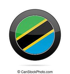 Flag of Tanzania. Shiny black round button.