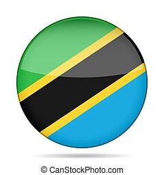 Flag of Tanzania. Shiny round button.