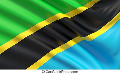 Flag of Tanzania. Waved highly detailed fabric texture.