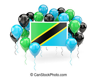 Flag of tanzania with balloons
