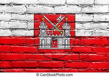 Flag of Tartu, Estonia, painted on brick wall
