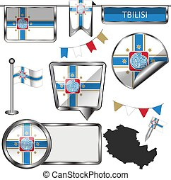Glossy icons of flag of Tbilisi, Georgia. Vector image