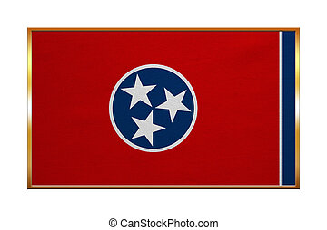 Flag of Tennessee , golden frame, fabric texture