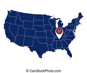 Flag of Tennessee in location pin and map of USA