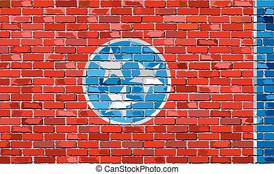 Flag of Tennessee on a brick wall