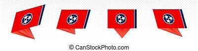 Flag of Tennessee US State in modern abstract design, flag set.