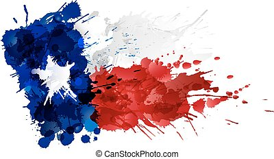 Flag of Texas made of colorful splashes
