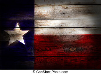 Flag of Texas USA painted on grungy wood plank