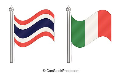 Flag of Thailand and Italy. Abstract Flying flag for International relationship