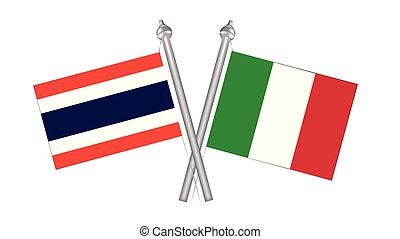 Flag of Thailand and Italy. Cross flag for International relationship