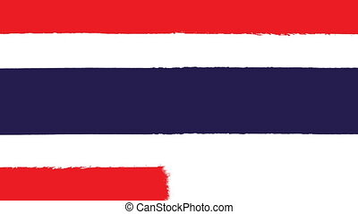 Flag of Thailand - Drawing Thai Flag by Brush Strokes
