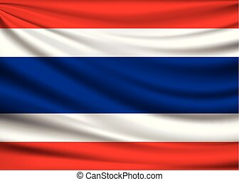 Flag of Thailand. fabric design background, vector illustration