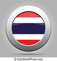 Flag of Thailand. Metal gray round button.