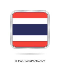 Flag of Thailand. Metallic gray square button.