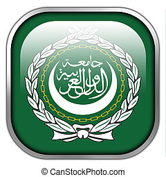 Flag of the Arab League, square glossy button