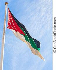 Flag of the Arab Revolt outdoors in Aqaba city