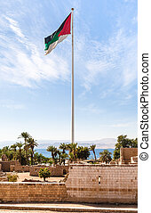 Flag of the Arab Revolt over Aqaba Castle