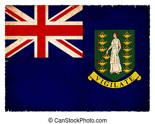 Flag of the British Virgin Islands (British overseas territory) created in grunge style