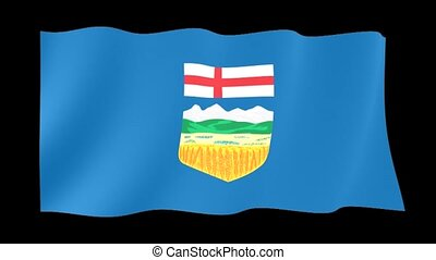 Flag of the Canadian Province of Alberta. Waving