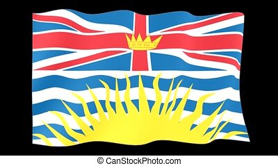 Flag of the Canadian Province of British Columbia. Waving -...