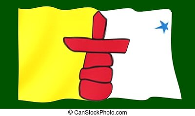 Flag of the Canadian Province of Ca Nunavut. Waving (PNG) computer animatie.