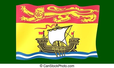 Flag of the Canadian Province of New Brunswick. Waving (PNG) computer animatie.