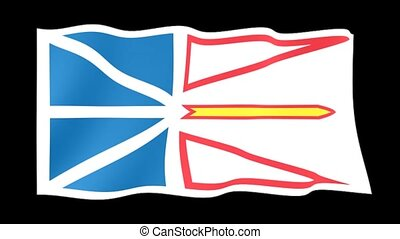 Flag of the Canadian Province of Newfoundland. Waving (PNG) computer animatie.